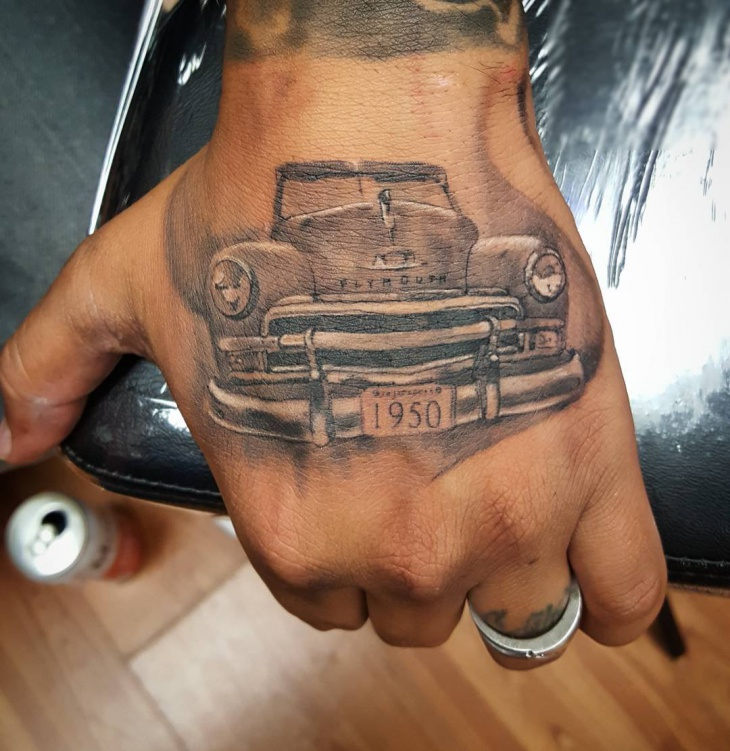 Car Tattoo on Palm