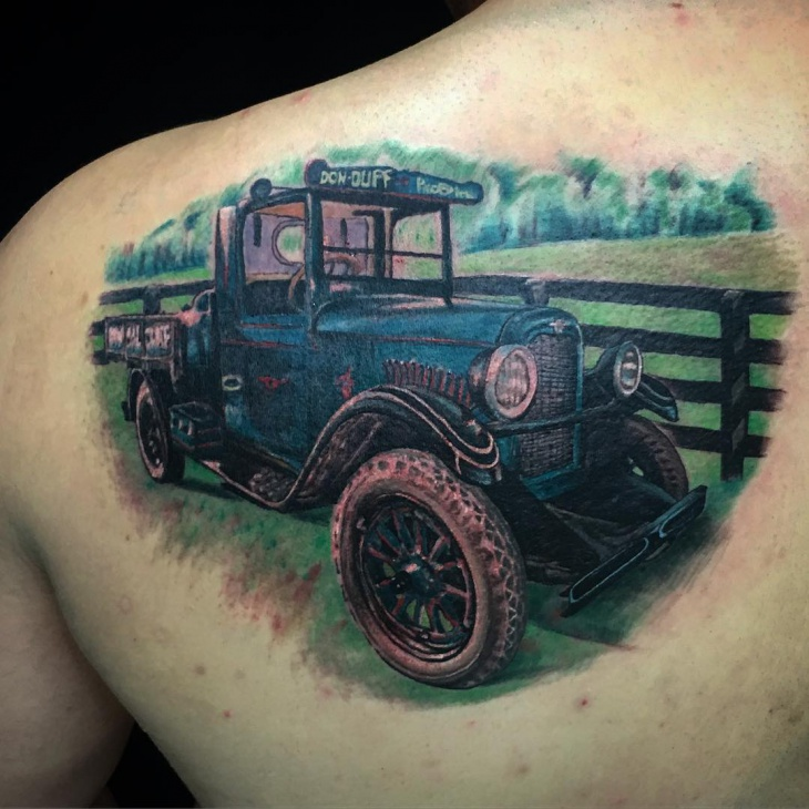 Car Shoulder Tattoo Design