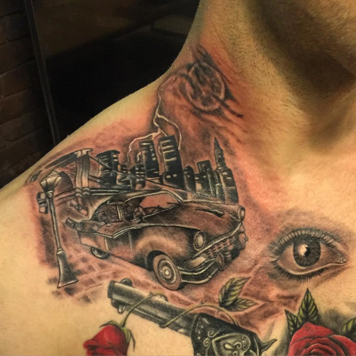 unique car tattoo idea