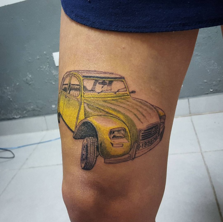 Car Tattoo on Thigh