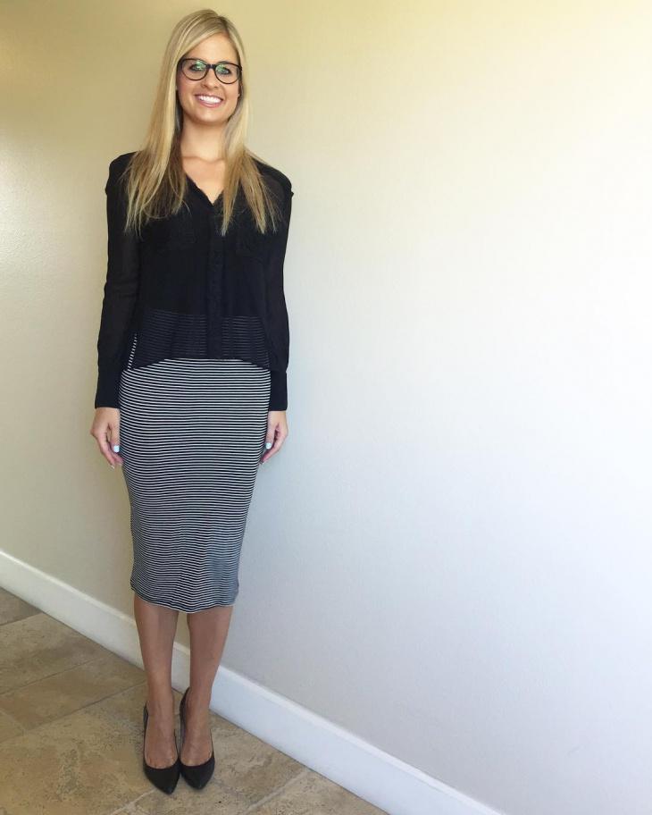 striped sheath skirt