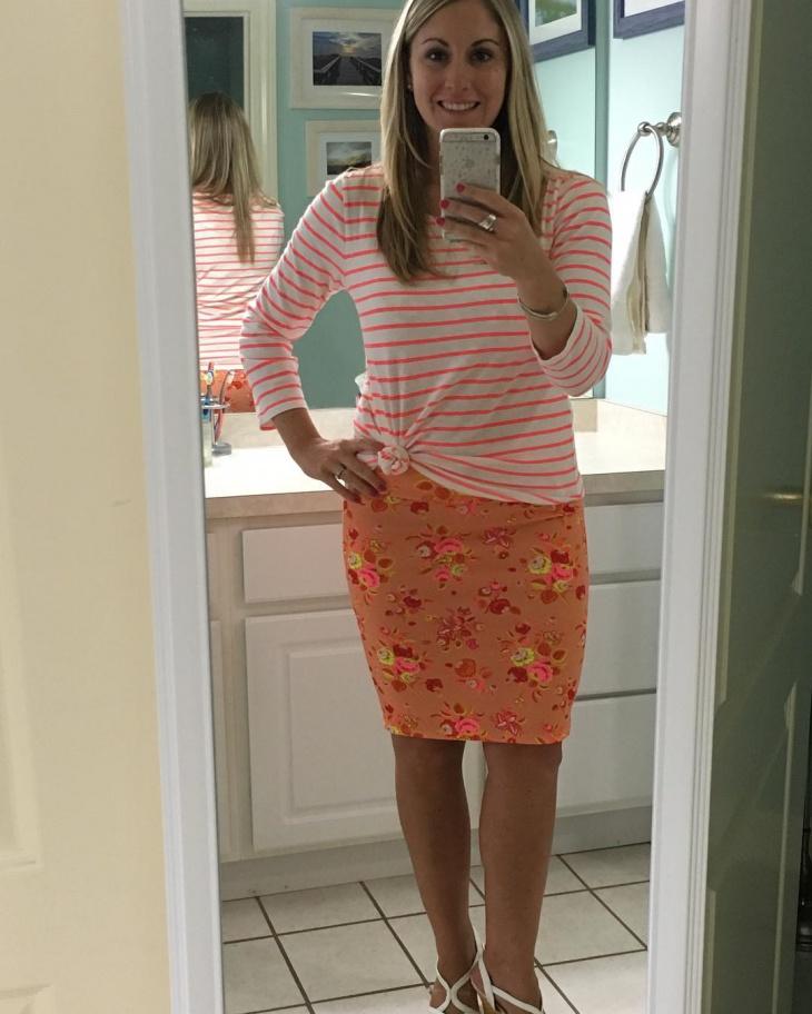 cute orange sheath skirt