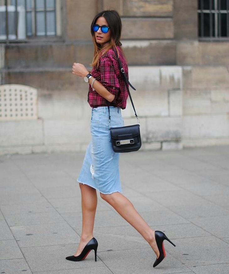 jeans sheath skirt design