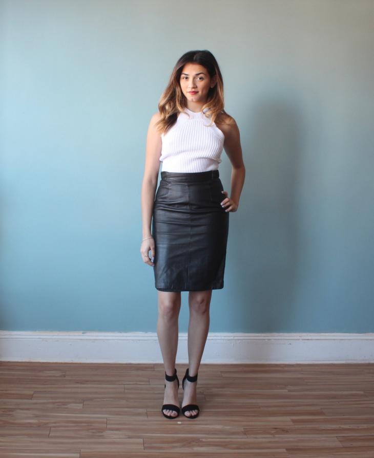 black leather sheath skirt