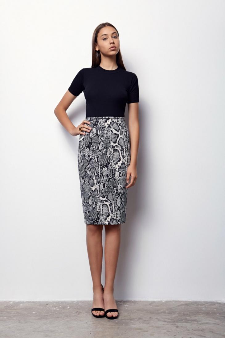 black and white sheath skirt
