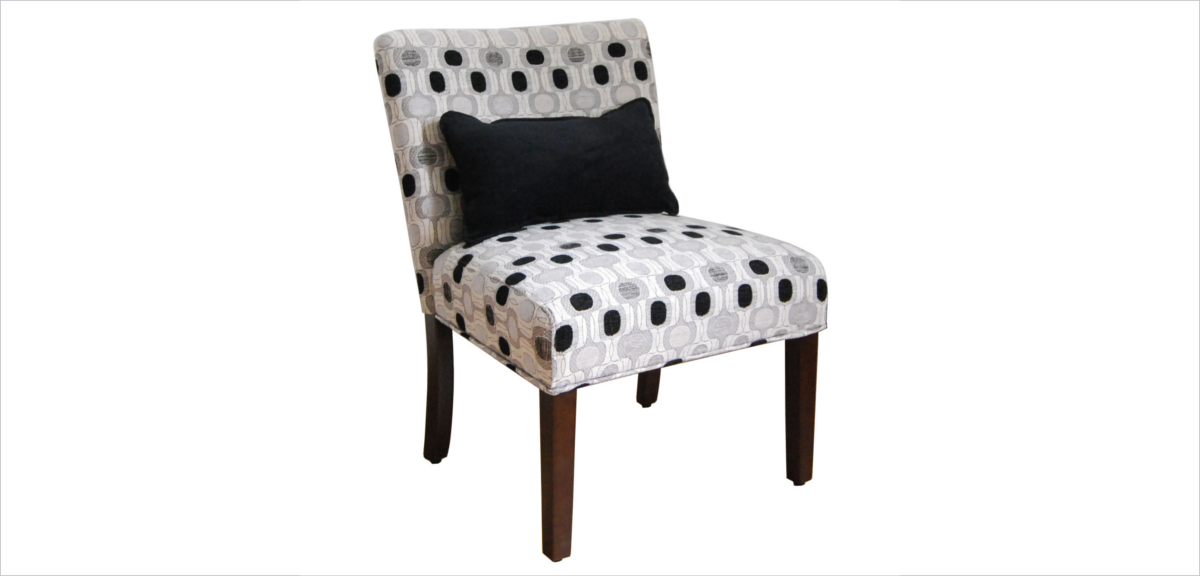 Polka Dot Print Upholstered Chair