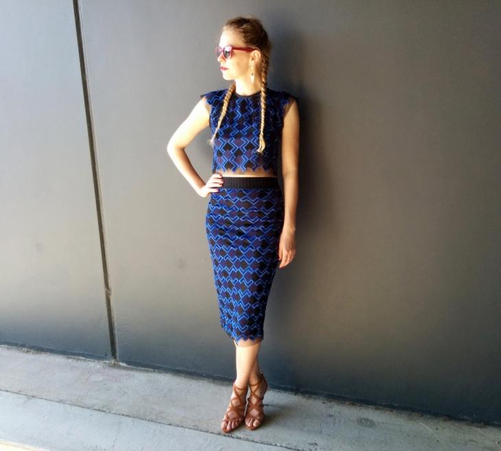 geometric print sheath skirt