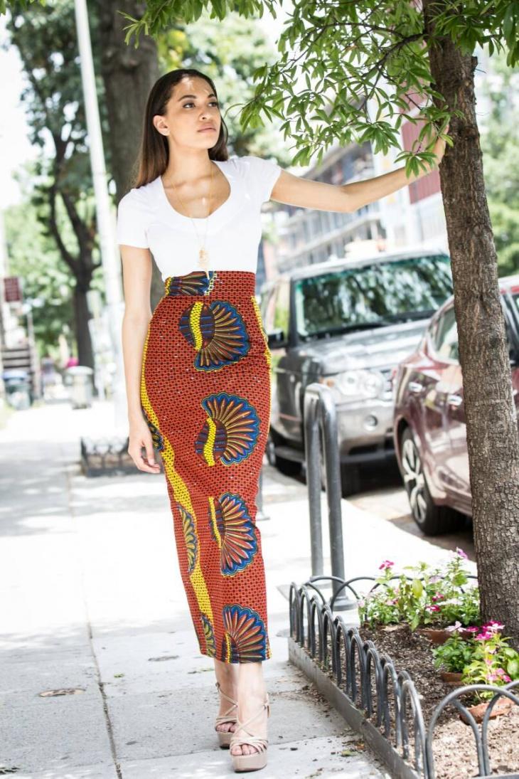 african print long sheath skirt