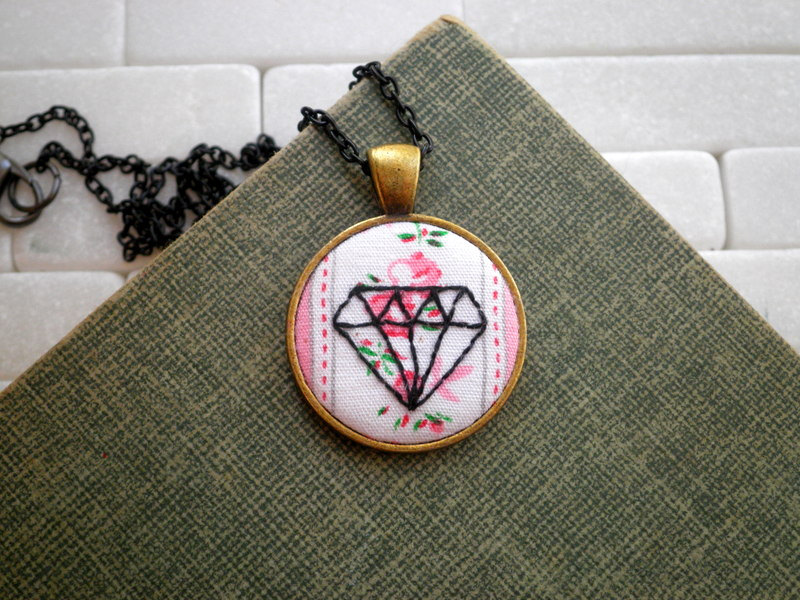 Geometric Embroidered Necklace
