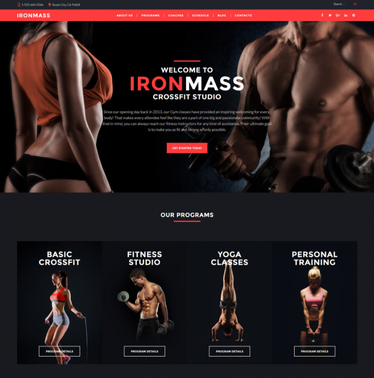 Drag & Drop Fitness Sports WordPress Template