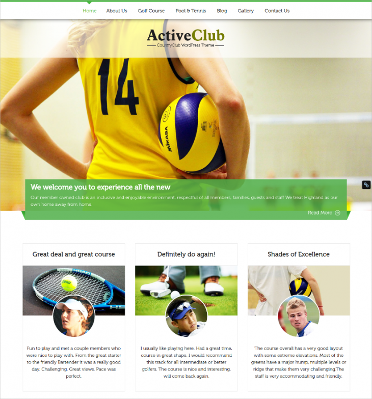 Full width Sports Club WordPress Theme