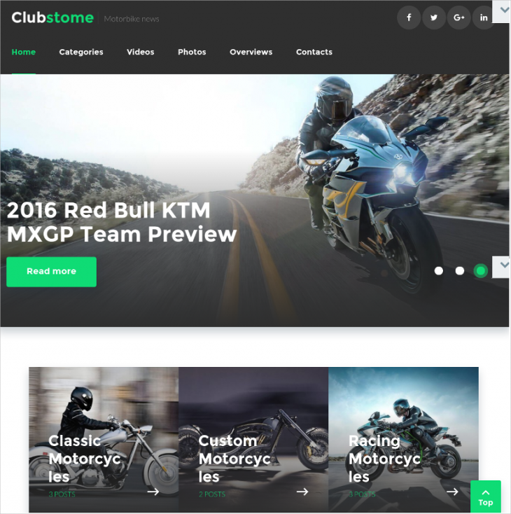 Bikes Sport WordPress Responsive Theme