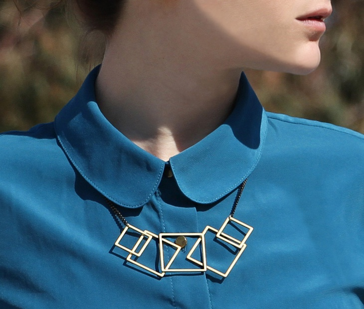 squares gold geometric necklace