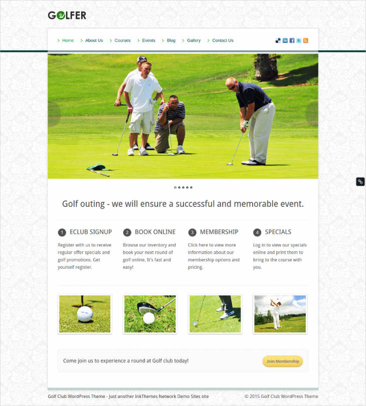 Perfect Golf Club Sports WordPress Template