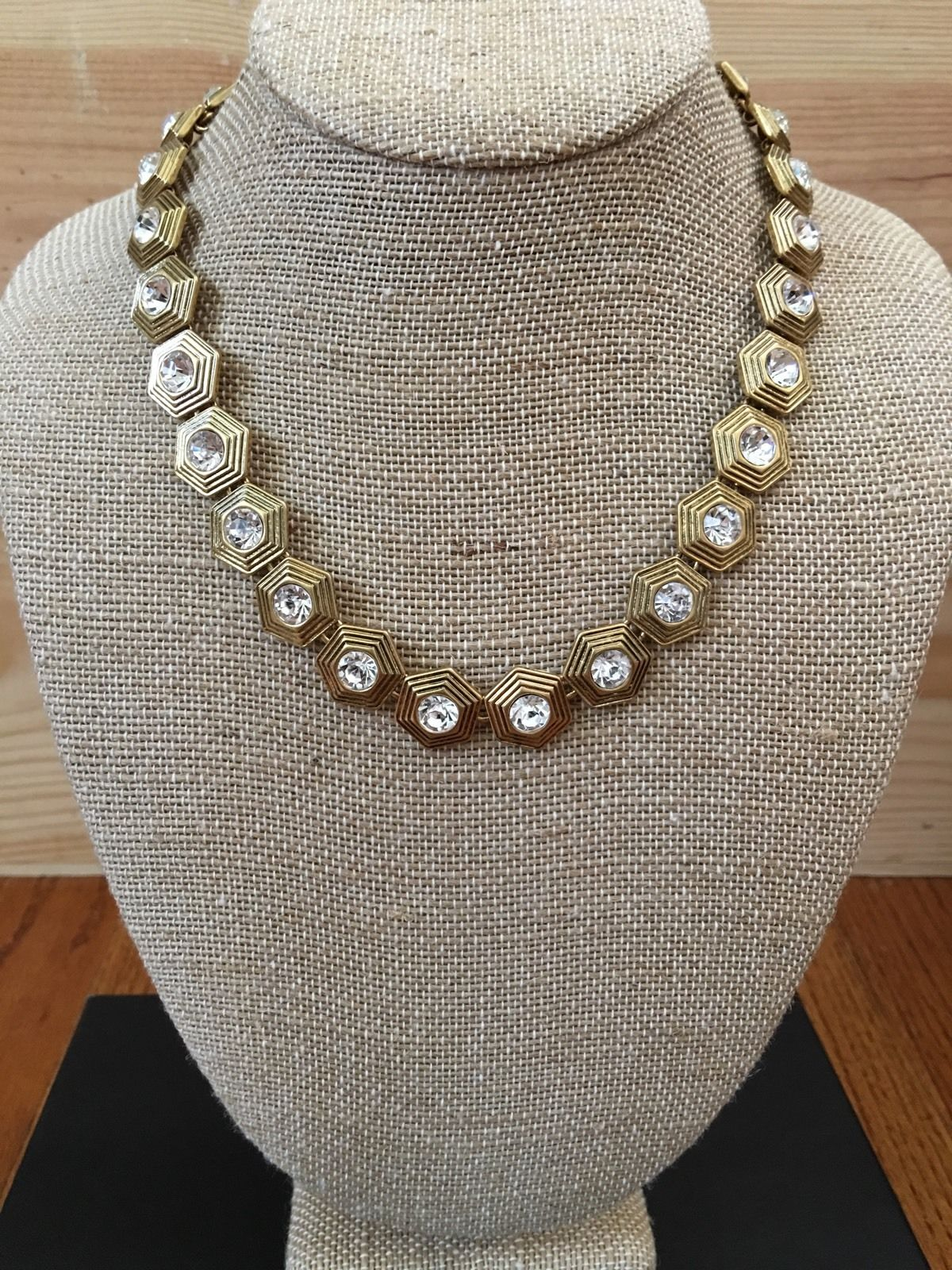 Crystal and Gold Geometric Necklace