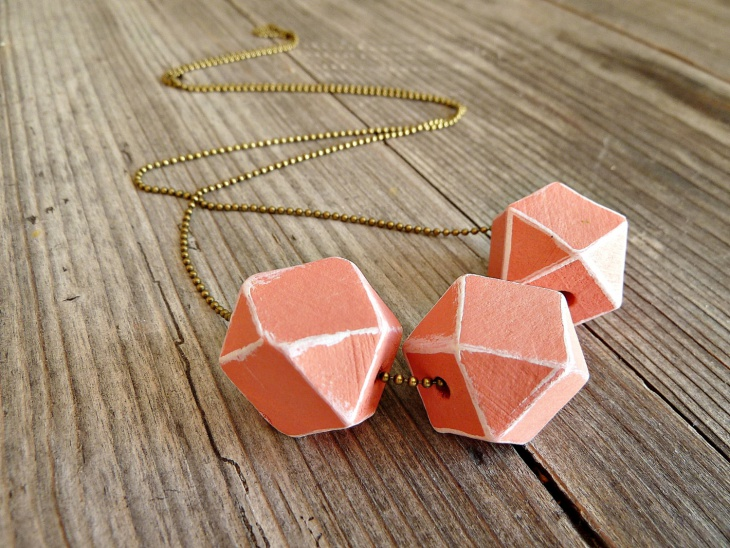 wood geometric necklace