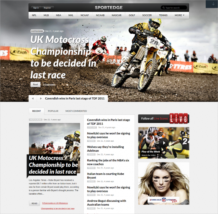 Retina Ready Sports Magazine WP Template