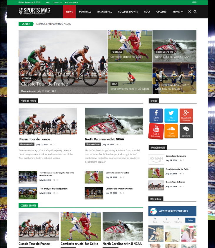 Free Sports Newspaper WordPress Template
