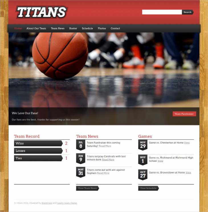 Responsive Basketball Sports WordPress Theme