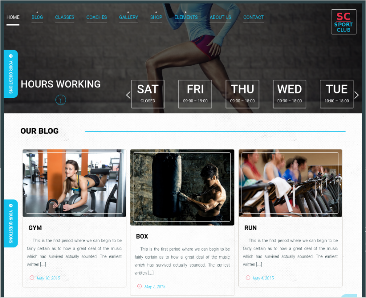 Sports WordPress Template With Jquery Effects