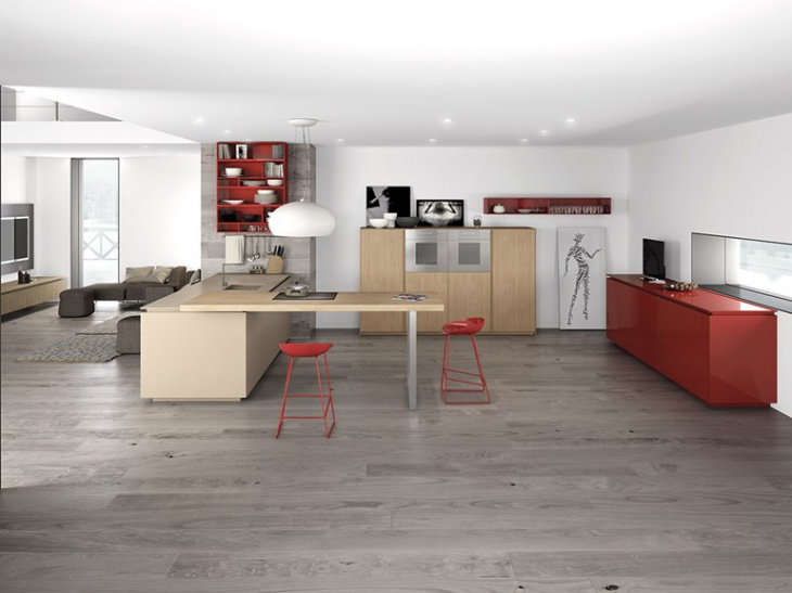 white kitchen with red corner island