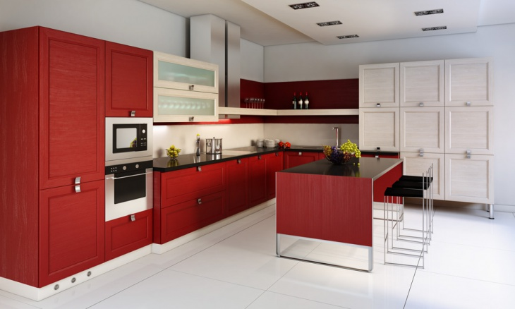 white and red wooden kitchen cabinets