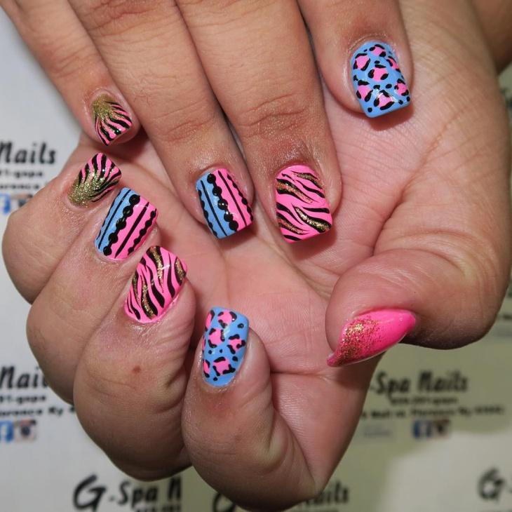 wild glitter nail art idea