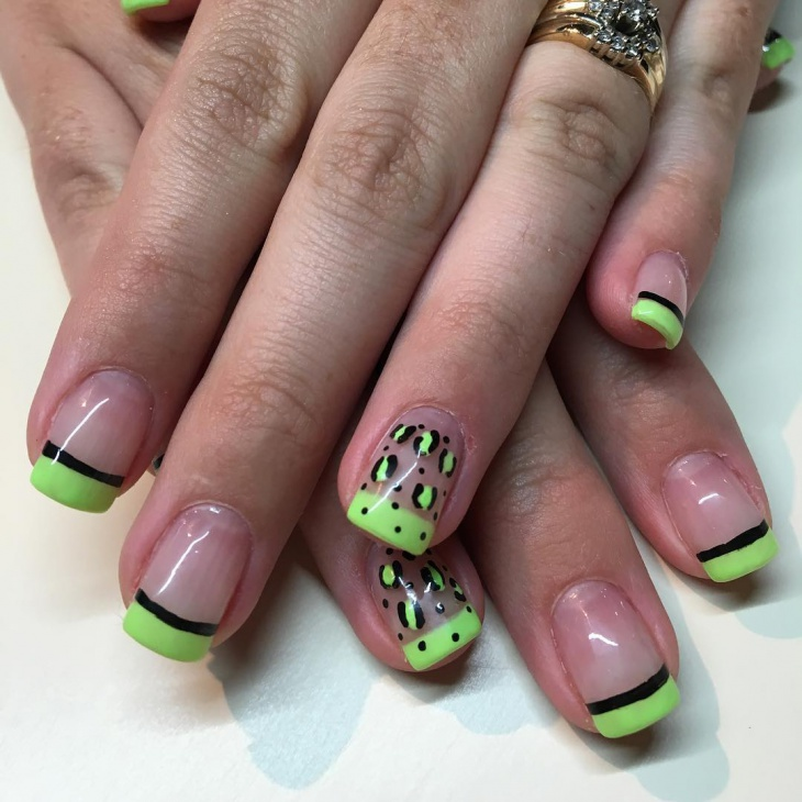 wild french tip nail art design