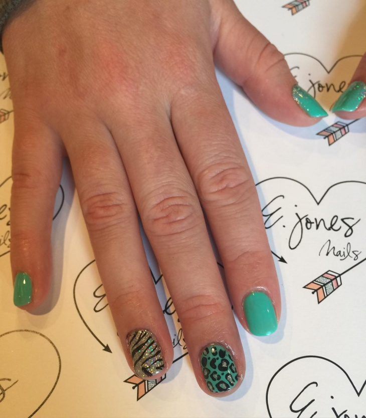 Green and Black Wild Nails