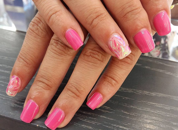 Pink Shattered Glass Nails