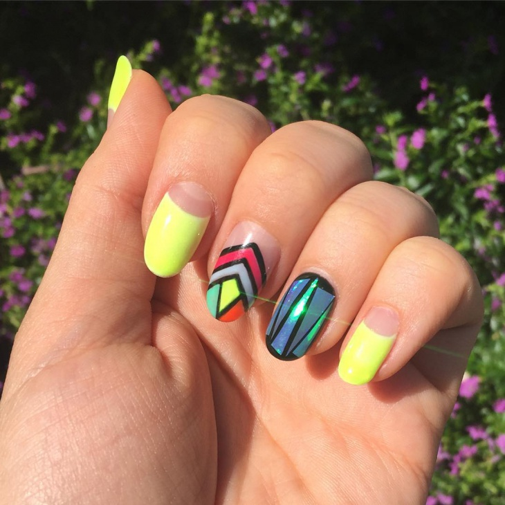 Neon Glass Nail Design