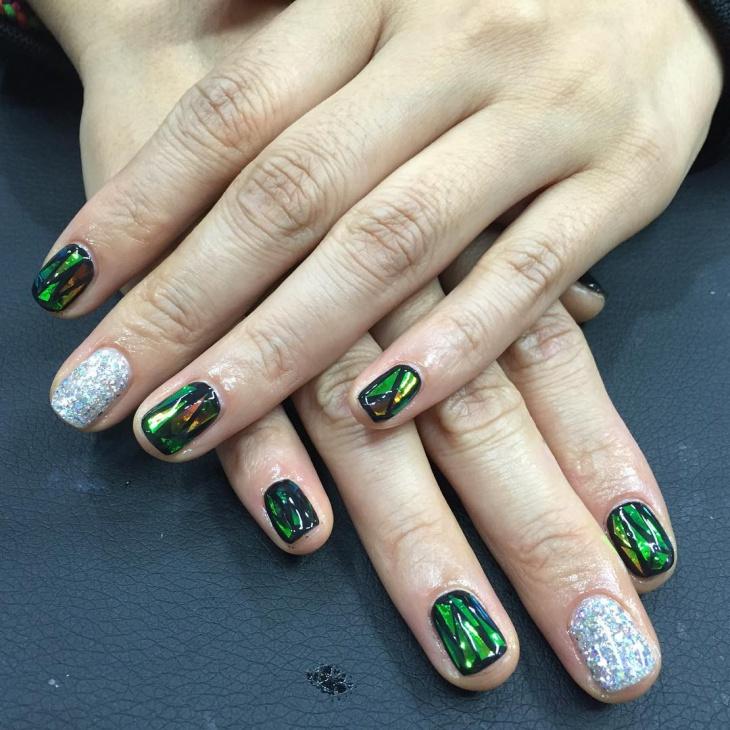 Green Glass Nail Art
