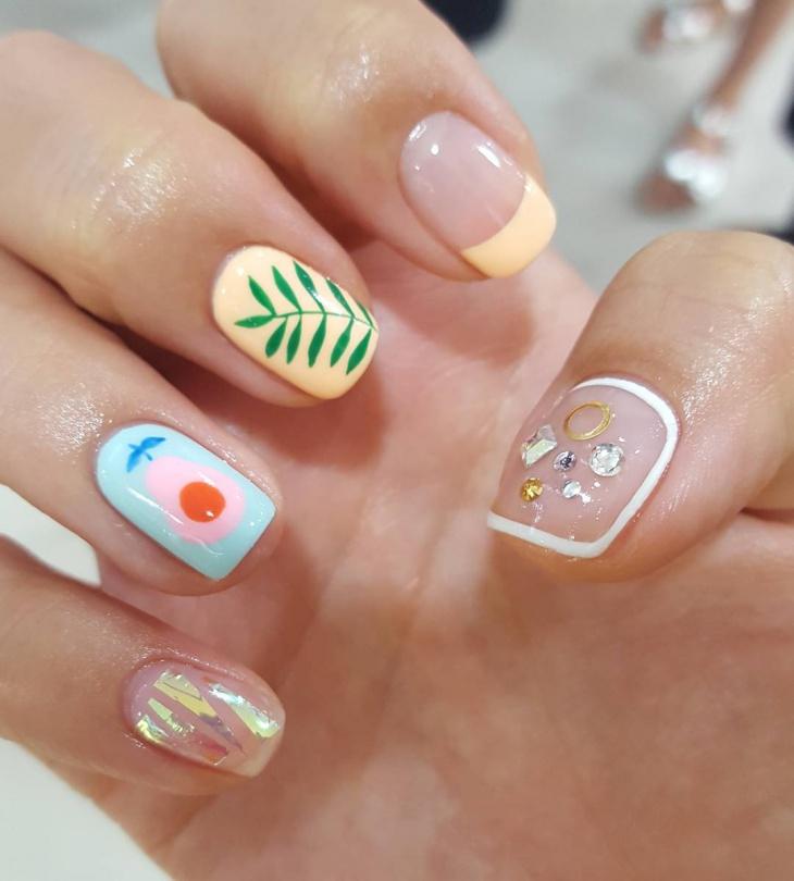 Palm Glass Nail Art Design