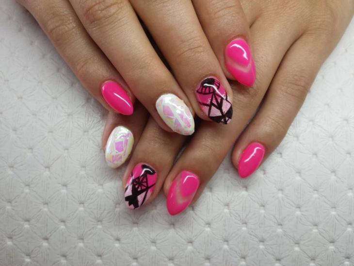White and Pink Nail Art