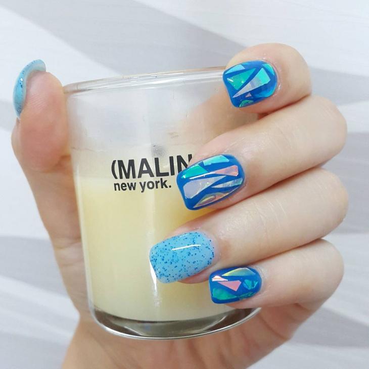Blue Glass Nail Art