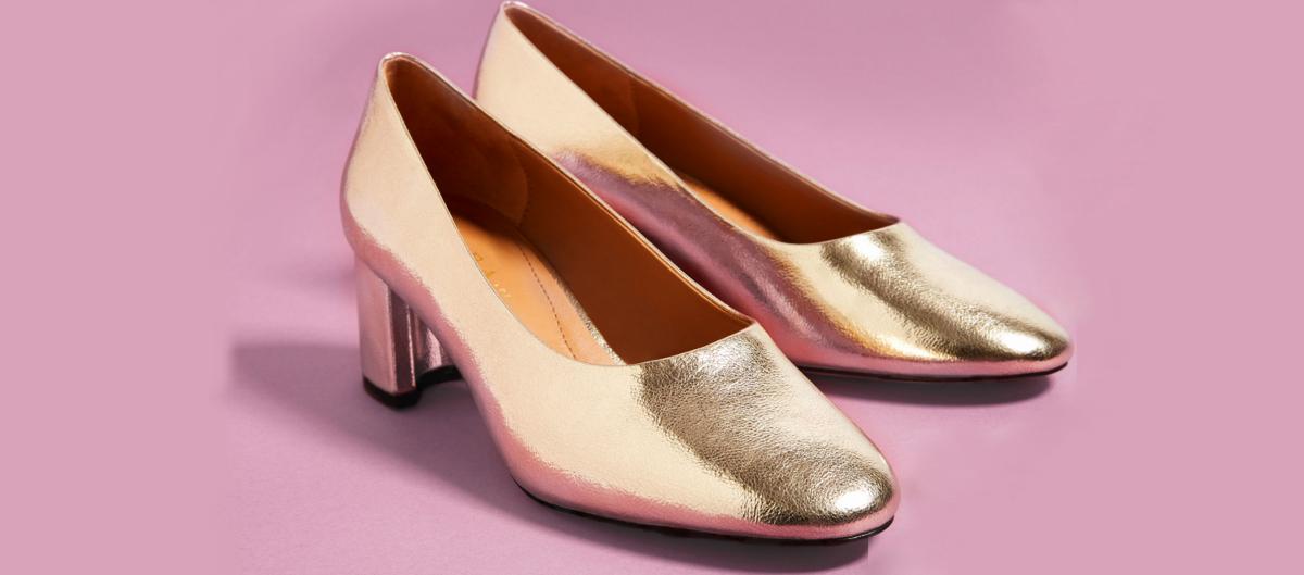 Zara Golden Laminated Mid Heel Shoes