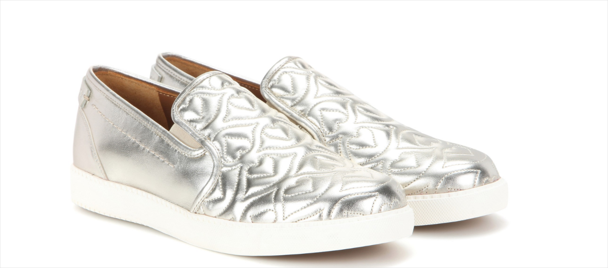 Chloé Quilted Silver Sneakers
