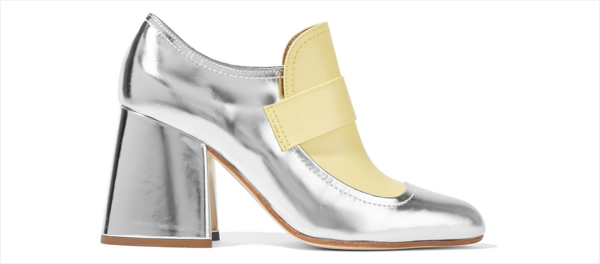 marni metallic leather two toned pumps