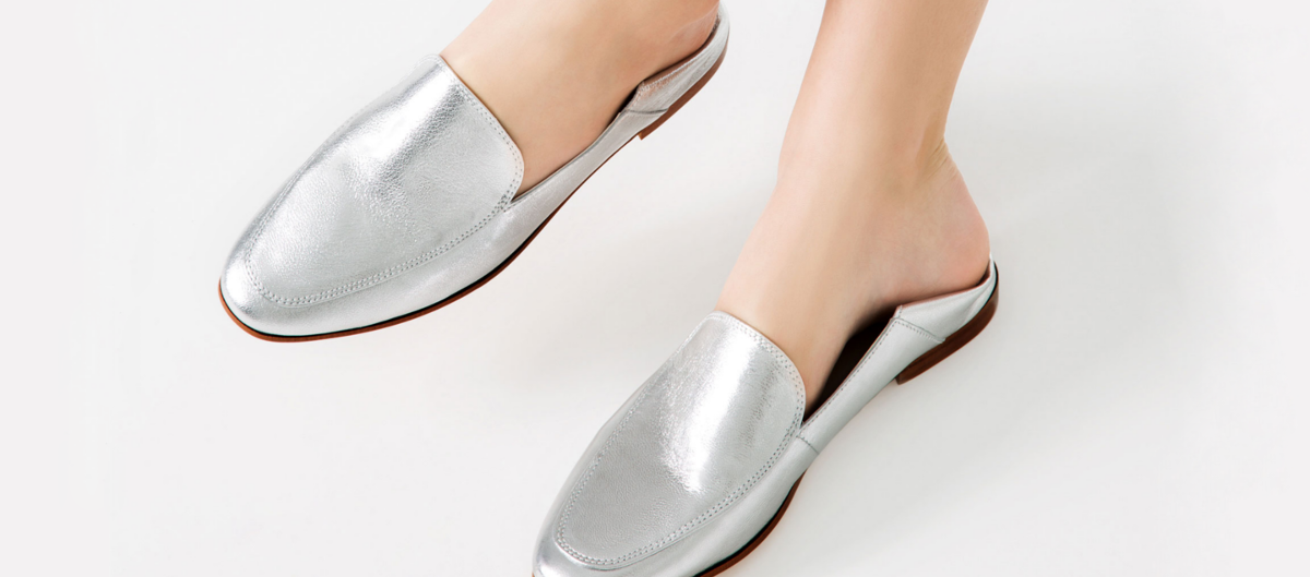 Zara Silver Laminated Leather Loafer