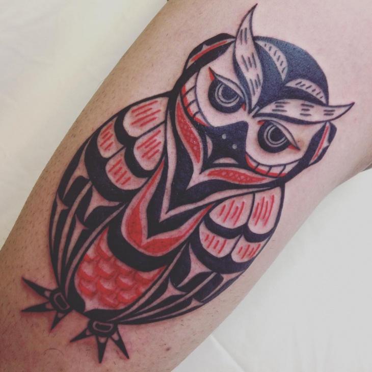 Owl Haida Tattoo Design