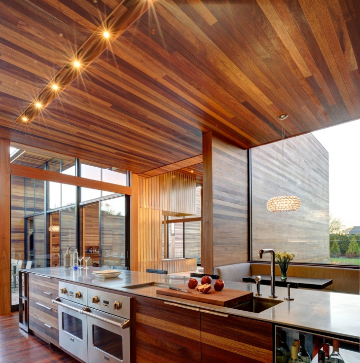Wood Panel Kitchen Ceiling