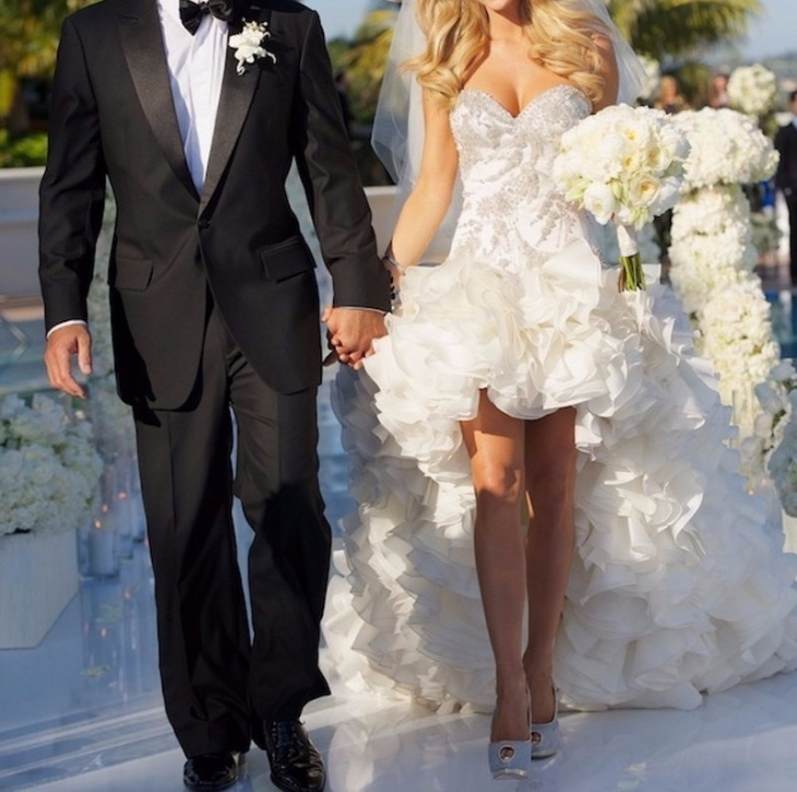 short bling wedding dress