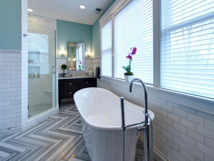 luxurious bathroom with subway tile