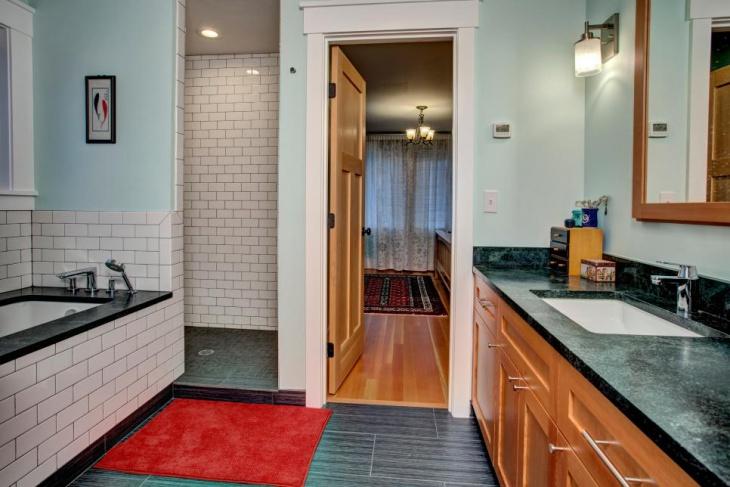 contemporary bathroom subway tile idea