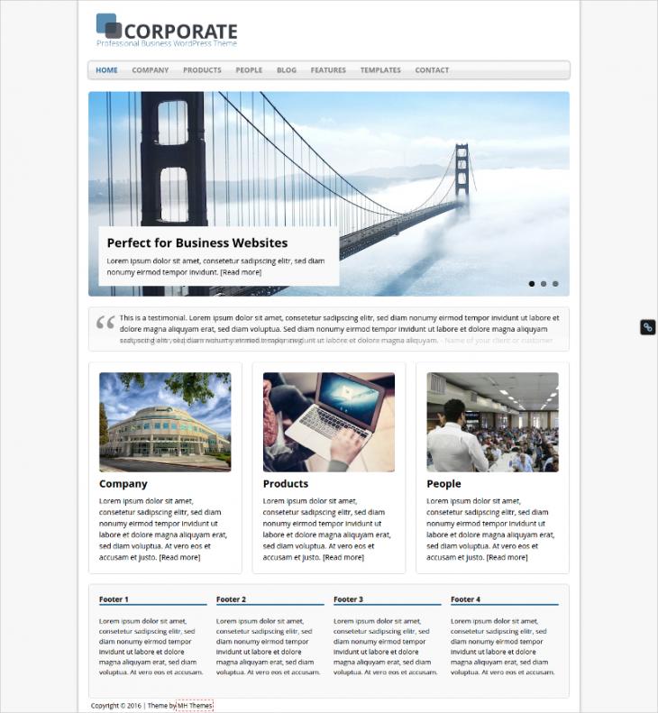 multi level corporate business wordpress theme