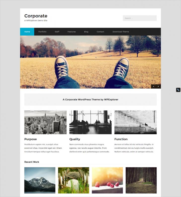 modern corporate minimal wordpress theme
