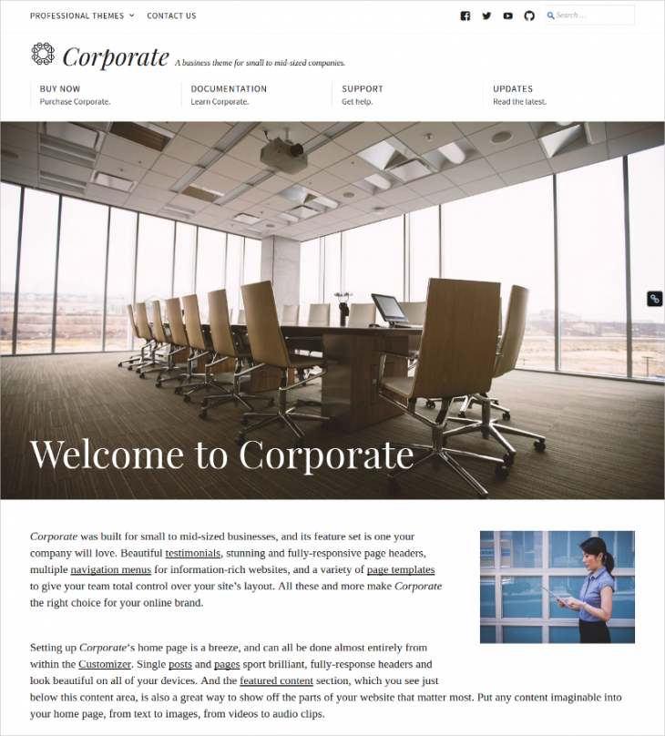 mid sized business corporates wordpress theme