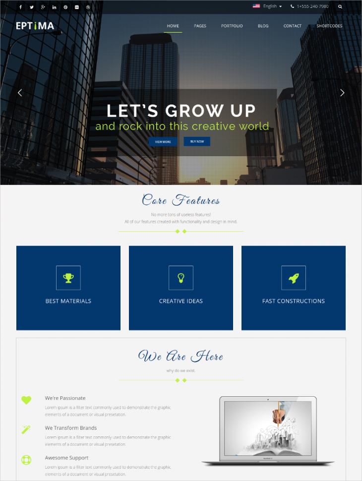 innovative corporate business wordpress theme