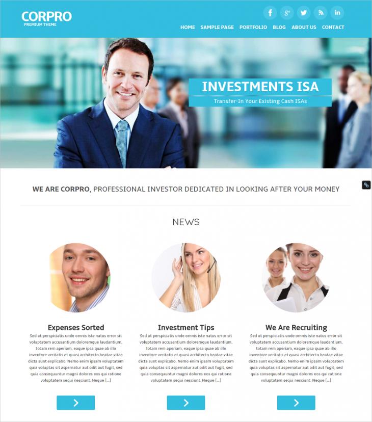 corporate pro wordpress theme