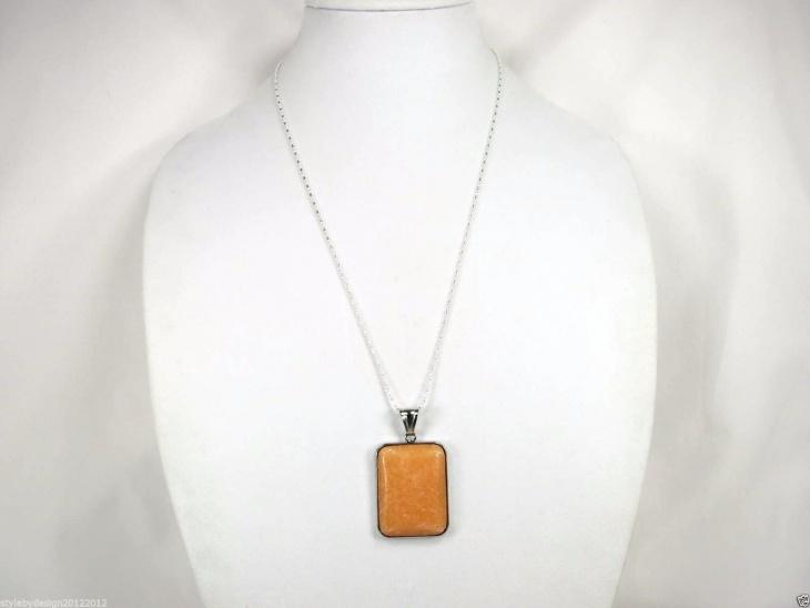 Gemstone Rectangular Pendant